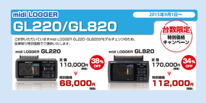 Gl220 Midi Data Logger : 計測器ワールド 日本電計株式会社 【グラフテック】 midilogger gl 発売記念キャンペーン